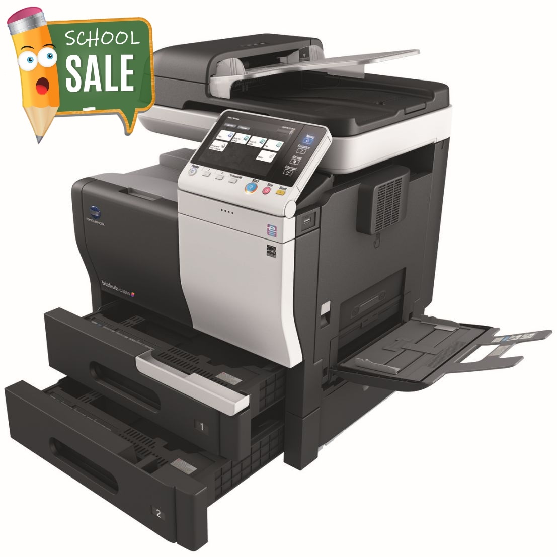 Konica Minolta Bizhub C3850 Colour Copier Printer Rental Price Offers Open Paper Trays Bypass