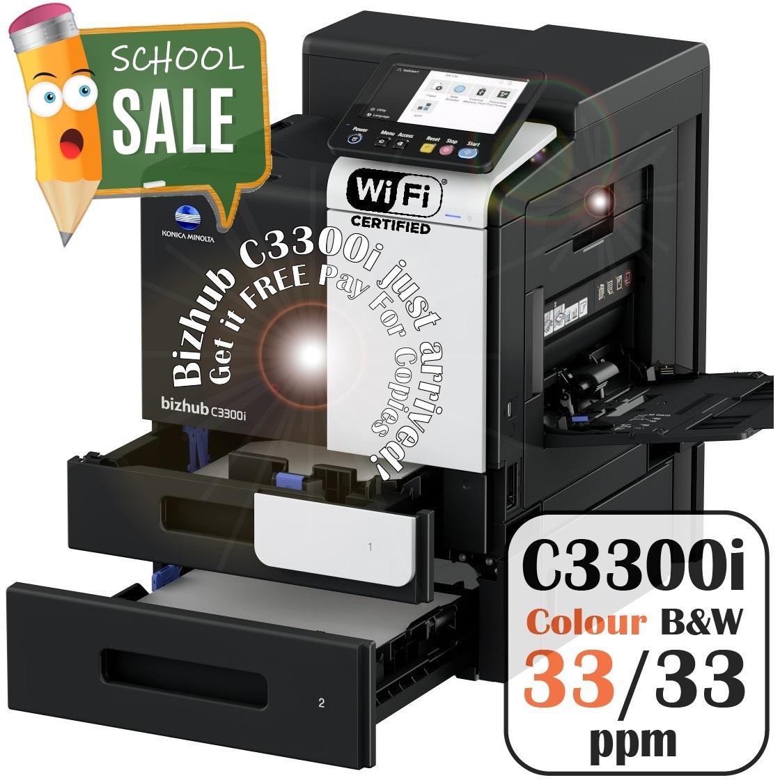 Konica Minolta Bizhub C3300i PF P20 Colour Printer Rental Price Offers Open Trays