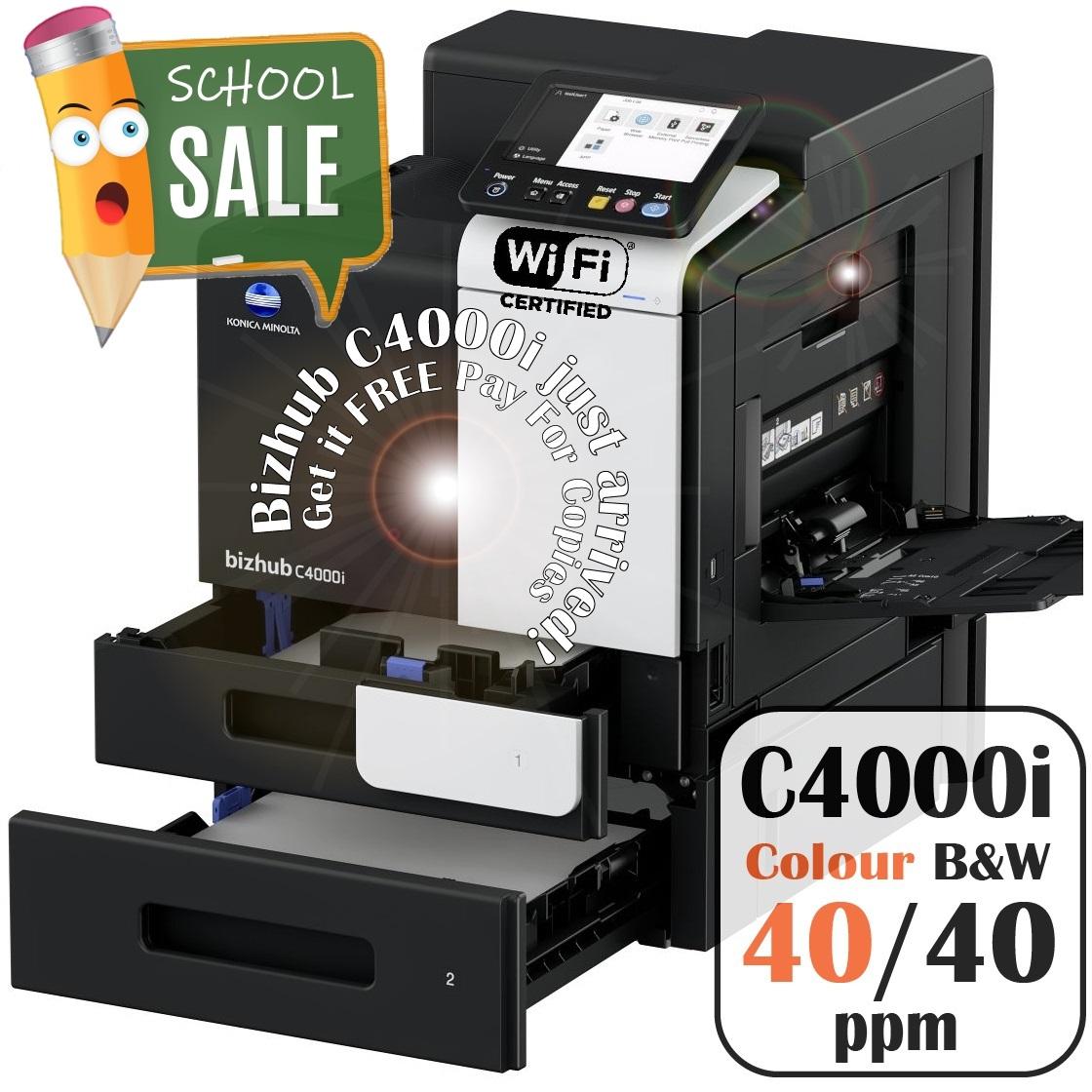 Konica Minolta Bizhub C4000i PF P20 Colour Printer Rental Price Offers Open Trays