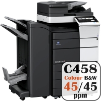 Konica Minolta Bizhub C458 Colour Copier Printer Rental Price Offers Frontpage